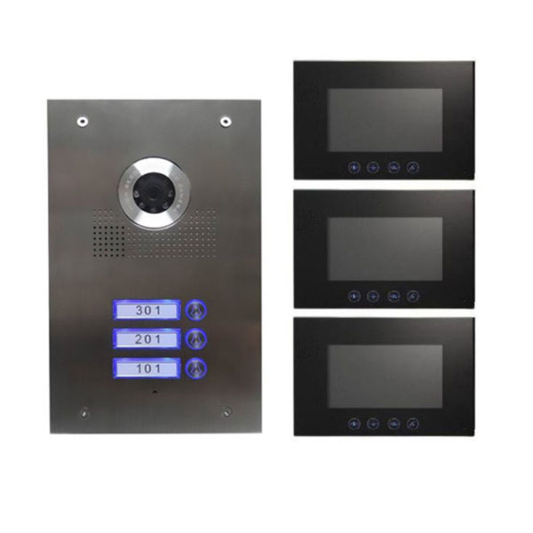 3 familienhaus video t rsprechanlage edelstahl mit kamera. Black Bedroom Furniture Sets. Home Design Ideas