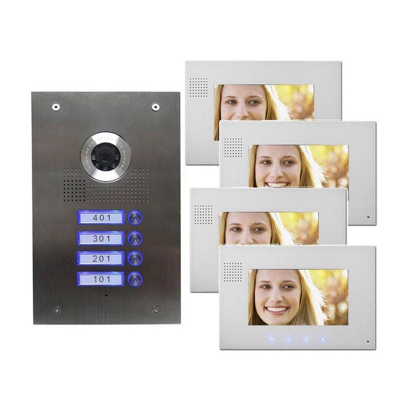 4 familienhaus video t rsprechanlage gegensprechanlage 7 zoll monitor wei mathfel. Black Bedroom Furniture Sets. Home Design Ideas
