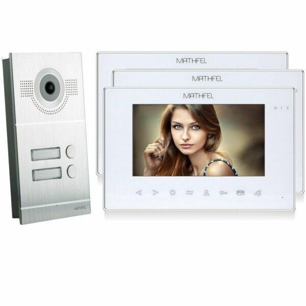 Silber Kamera 3 weisse Monitore