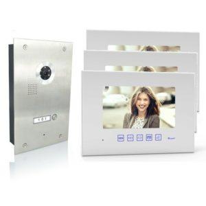 4 Draht Türsprechanlage mit dreiMonitore und 170 Grad Kamera