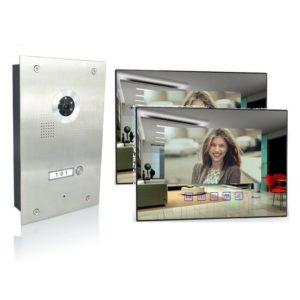 4 Draht Türsprechanlage mit zwei Spiegelmonitore und 170 Grad Kamera