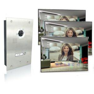 Türsprechanlage mit drei Monitore und 170 Grad Kamera