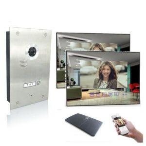 4 Draht Türsprechanlage mit WLAN, zwei Spiegelmonitore und 170 Grad Kamera