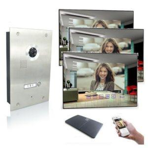 4 Draht Türsprechanlage mit WLAN, drei Spiegelmonitore und 170 Grad Kamera
