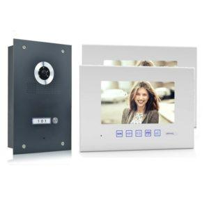 4 Draht Türsprechanlage mit zwei Monitore und 170 Grad Kamera