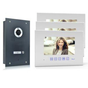 4 Draht Türsprechanlage mit drei Monitore und 170 Grad Kamera