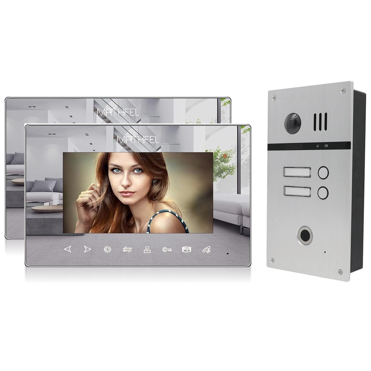 2 Draht Video T/ürsprechanlage Gegensprechanlage Fischaugenkamera 170 Grad 3x7 Monitor in wei/ß Farbe Gr/ö/ße Silber