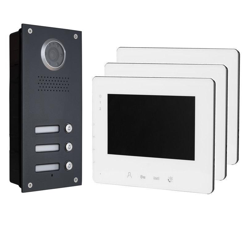 Video Sprechanlage Türsprechanlage 7/'/' Monitor Nachtsicht Kamera für 3 Familien